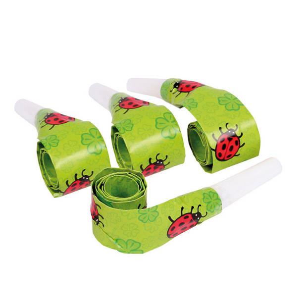 Amscan roltongen Ladybird junior 30 cm papier groen 4-delig