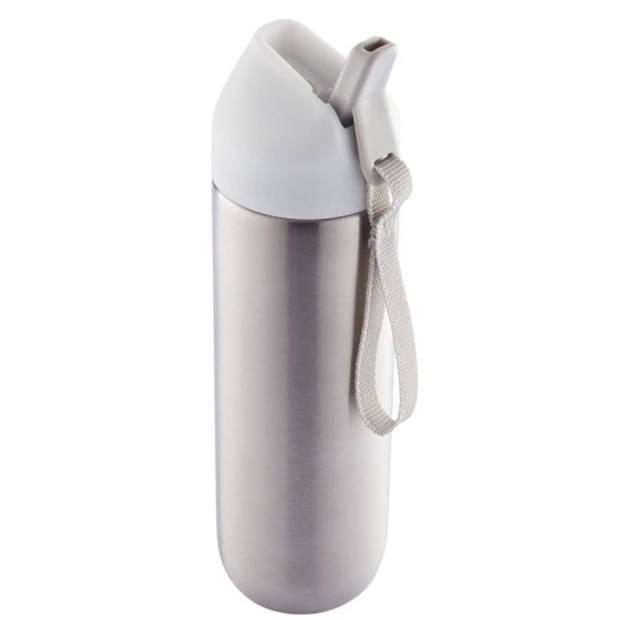 XD Design bidon Neva 0,5 liter 22,2 x 6,2 cm RVS zilver/wit