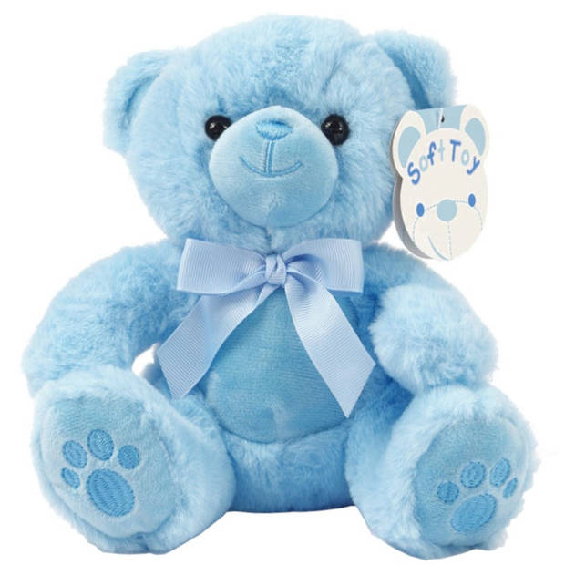 Soft Touch knuffelbeer Paws junior 20 cm polyester blauw