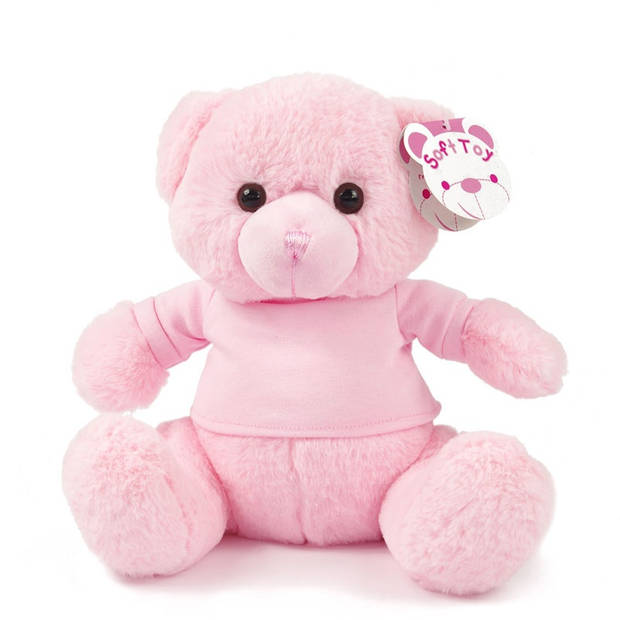 Soft Touch knuffelbeer met shirt 25 cm polyester roze