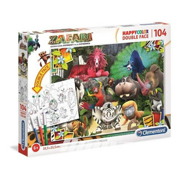 Clementoni legpuzzel Zafari junior 35 cm karton 104 stukjes