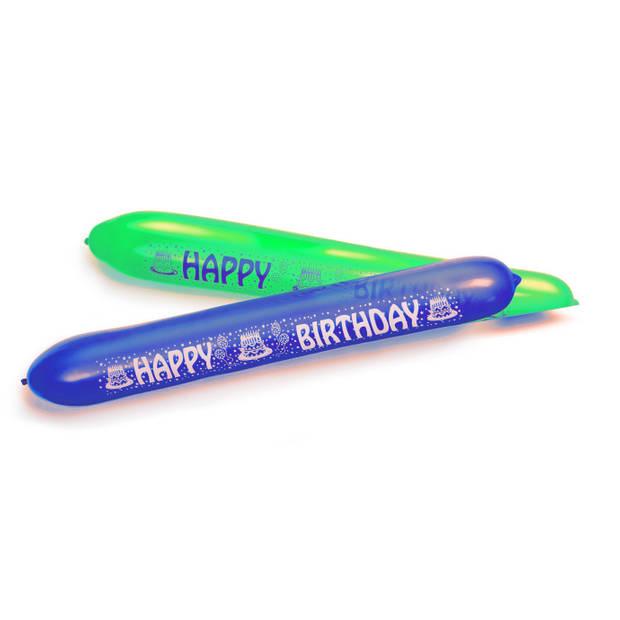 Amscan ballonnen Happy Birthday 120 cm blauw/groen 2 stuks