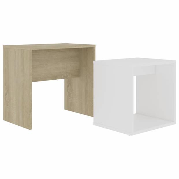 vidaXL Salontafelset 48x30x45 cm spaanplaat wit en sonoma eikenkleurig