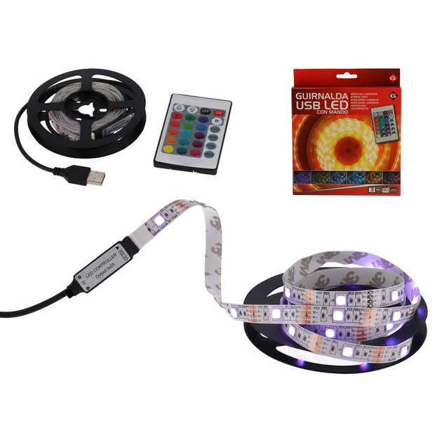 Gerimport - RGB USB Ledstrip incl. afstandsbediening – 3 Meter – 90 Leds – LED Verlichting