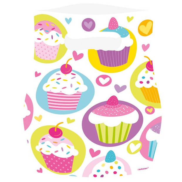 Amscan uitdeelzakjes Cupcake 23,4 x 16,3 cm wit 6 stuks