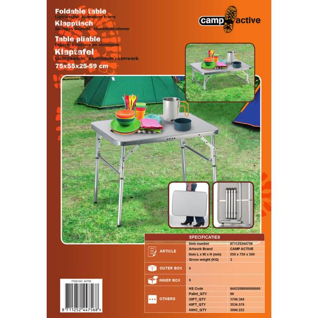Camp Active Campingtafel - Opvouwbaar - 2 Hoogtes - 75 x 55 x 25-59 cm