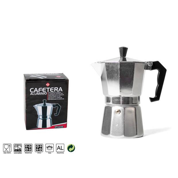 Gerimport - Percolator Express - Espressomaker - 3 kops - 150ml - Klein - Zilver - Espresso op vuur
