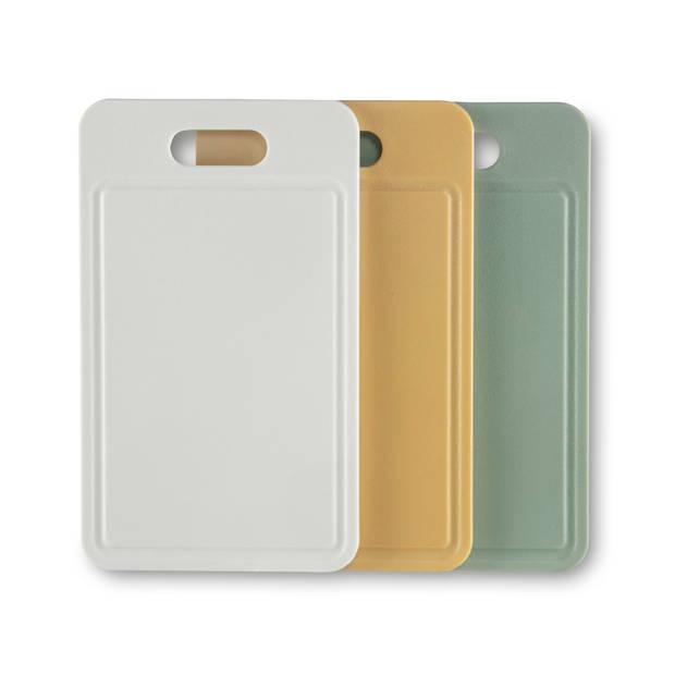 Blokker snijplanken set van 3 - diverse kleuren - 24,5x14,5x0,6 cm