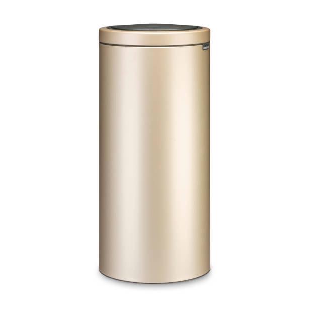 Brabantia Touch Bin Flat Top afvalemmer 30 liter met kunststof binnenemmer - Champagne