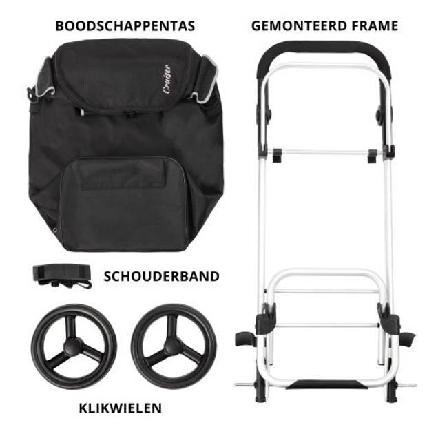 Shoppingcruiser'Allround'Boodschappentrolley Boodschappenwagenmetkoelvak Afneembaretas Waterafstotend Zwart