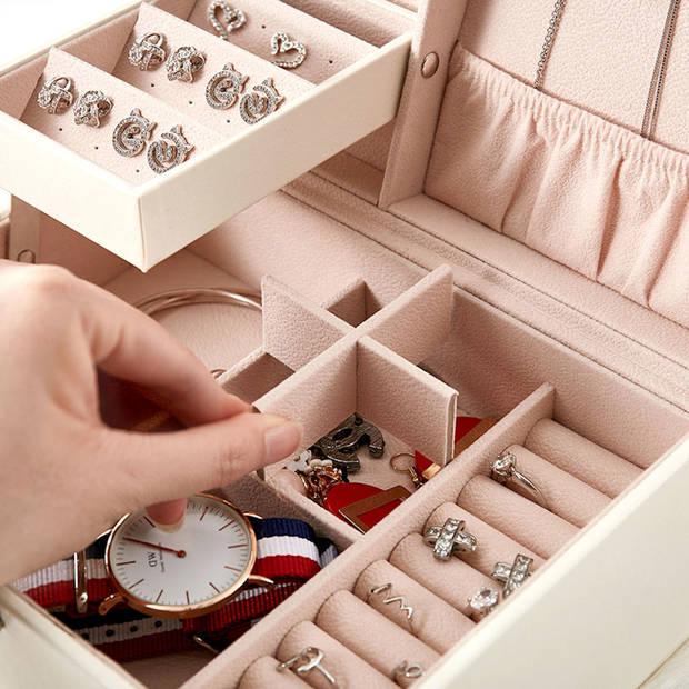Luxe Sieradendoos met Spiegel en 20 Vakken - Witte Luxe Bijouterie
