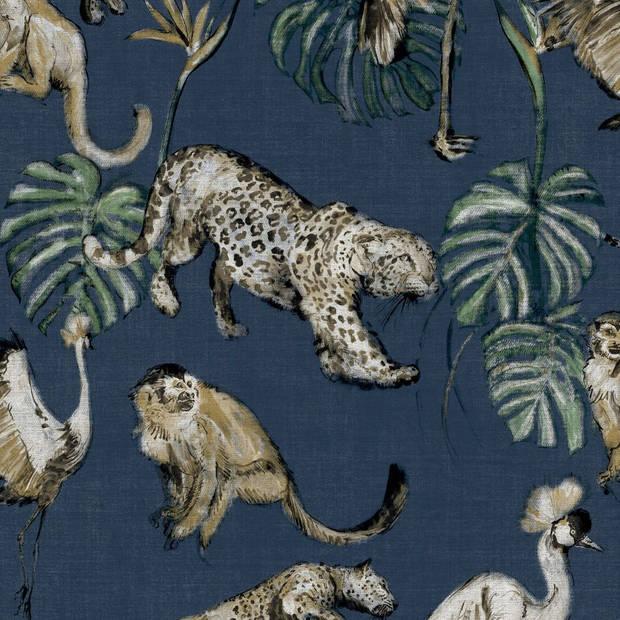 Zero Behang Exotic Animals blauw