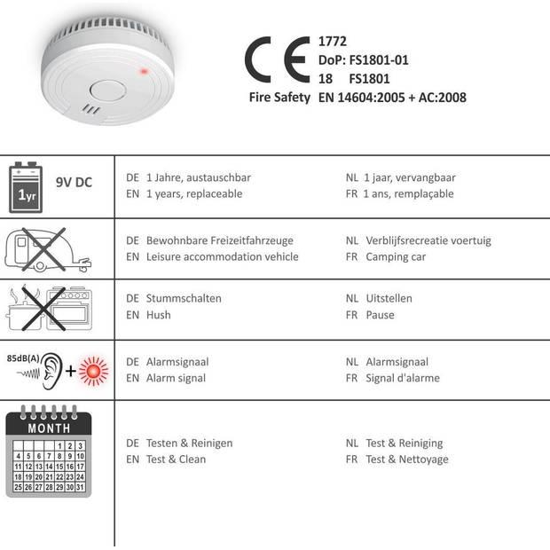 ELRO FS1801 Rookmelder - Voldoen aan Europese Norm EN14604 - 4 stuks