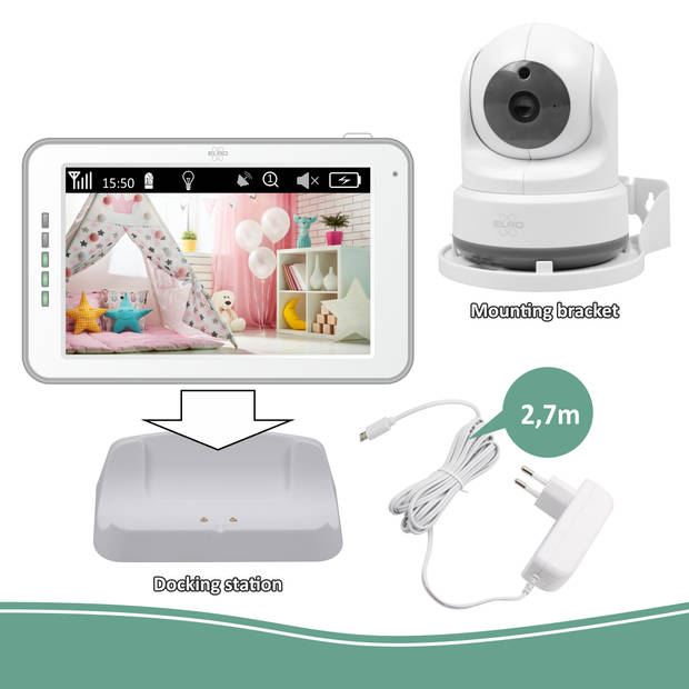 ELRO BC3000-2 Babyfoon Royale - met 12,7 cm Touchscreen Monitor HD- & App - Met extra camera