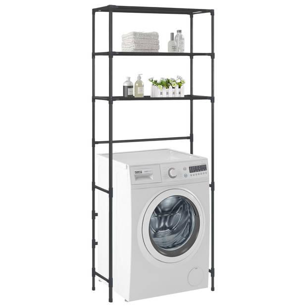 vidaXL Opbergrek voor boven wasmachine 3-laags 69x28x169 cm zwart