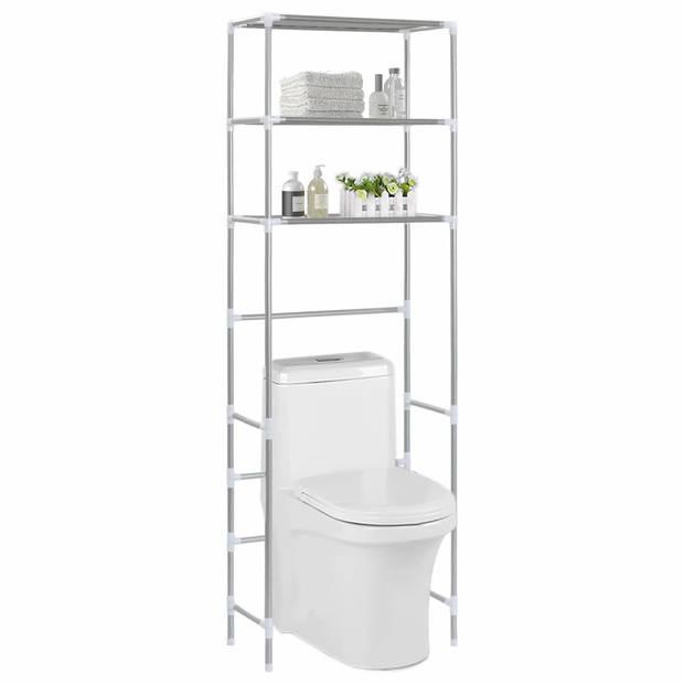 vidaXL Opbergrek voor boven toilet 3-laags 53x28x169 cm zilverkleurig