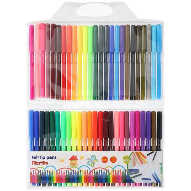50x Gekleurde viltstiften in etui - Viltstiften voor kinderen - Kleuren - Knutselspullen - Creatief speelgoed