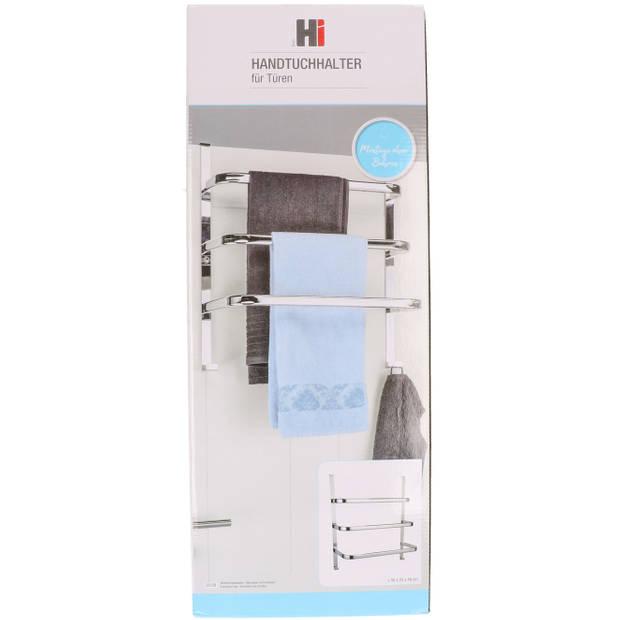 Verchroomde handdoek deur rek met 3 stangen - 56 cm - Handdoeken/badlakens rekken - Handdoek droogrek van metaal
