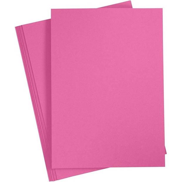 10x Fuchsia roze A4 vel 180 grams - hobby karton