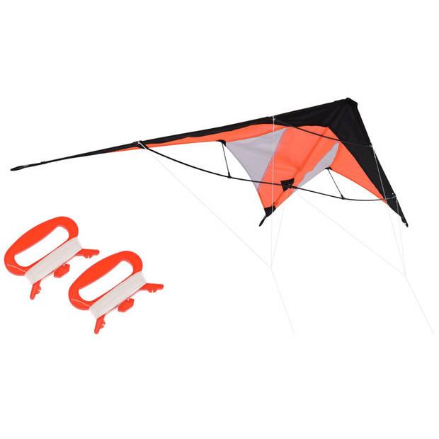 Oranje vlieger met meeneemtas - 180 x 70 cm - Kindervlieger - Vliegeren - Strandspeelgoed - Buitenspeelgoed