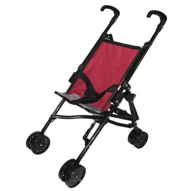 Rode poppenwagen speelgoed voor meisjes - Poppen accessoires buggy/wandelwagen rood/zwart
