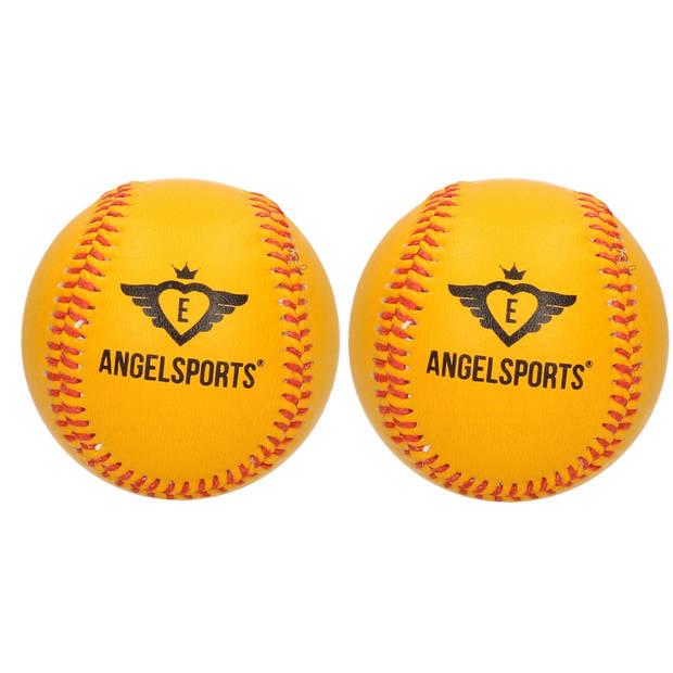 2x Honkballen/softballen Angel sports oranje/geel 10 cm - Honkbalsets