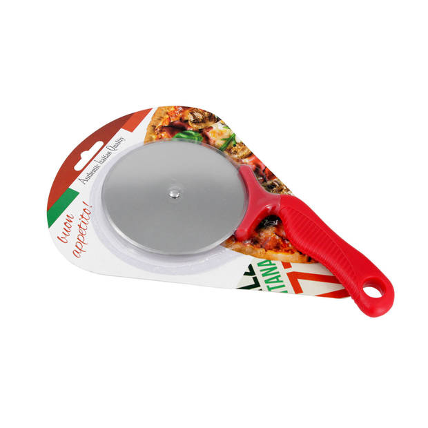 Pizzaroller/pizza snijder rood 21 cm - Pizzasnijders - Pizza stukken snijden