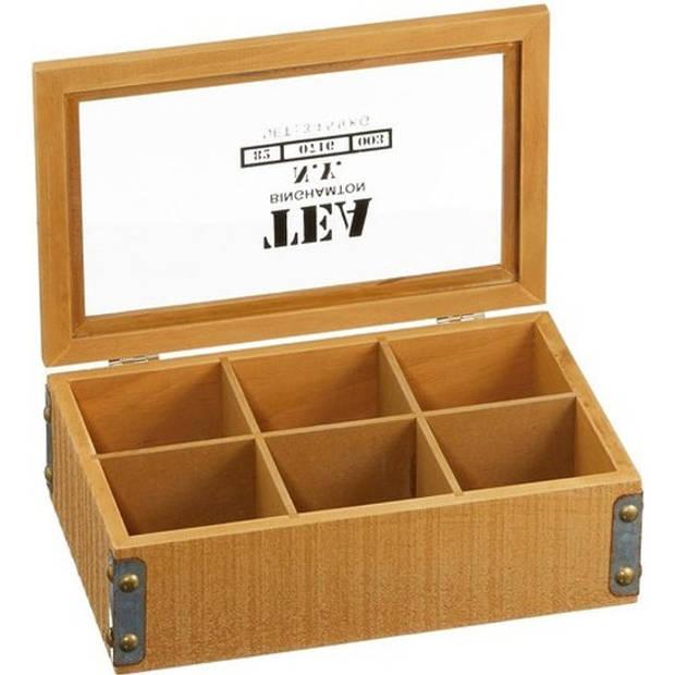Thee bewaardoos 6 vakken hout - Theedoos - Theekist - vakjes 7 x 6,5 x 6 cm
