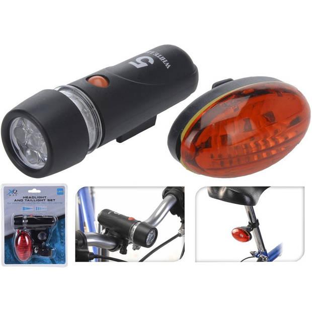 Fietsverlichting set voor en achter - LED - rood/wit - Spatwaterdicht - Fietslampjes - Voorlicht en achterlicht