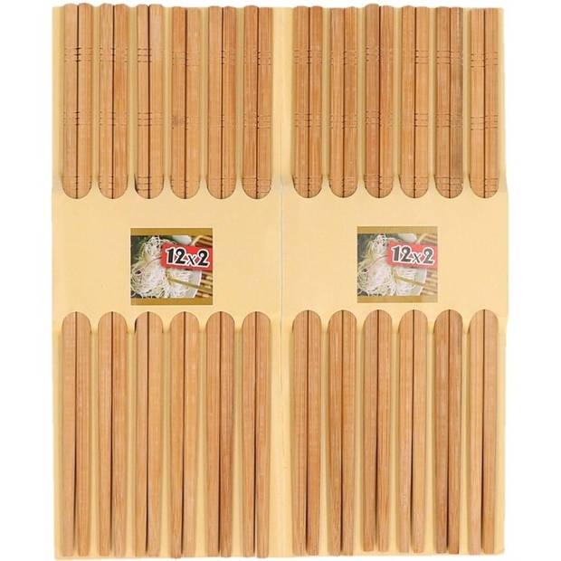 48x stuks luxe Sushi eetstokjes donker bamboe hout - Aziatisch eten accessoires