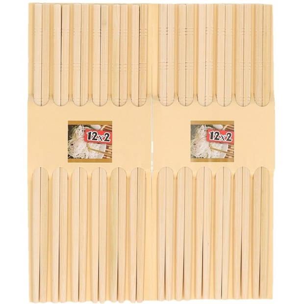 48x paar Sushi eetstokjes licht bamboe hout