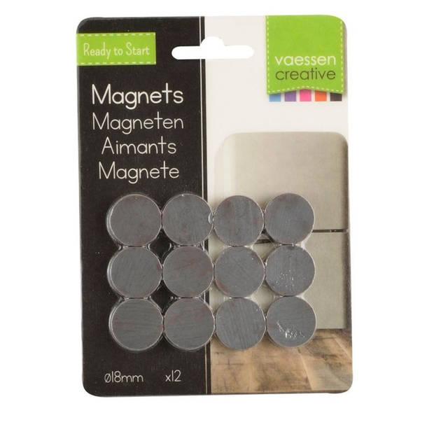 12x Ronde koelkast/whiteboard magneten 18 mm zwart - Hobby en kantoorartikelen - Super sterk 18mm x 4mm