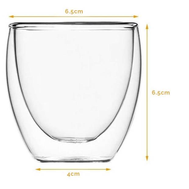 JAP Dubbelwandig Espresso Glas - Vaatwasserbestendig - 80ml - 6 stuks