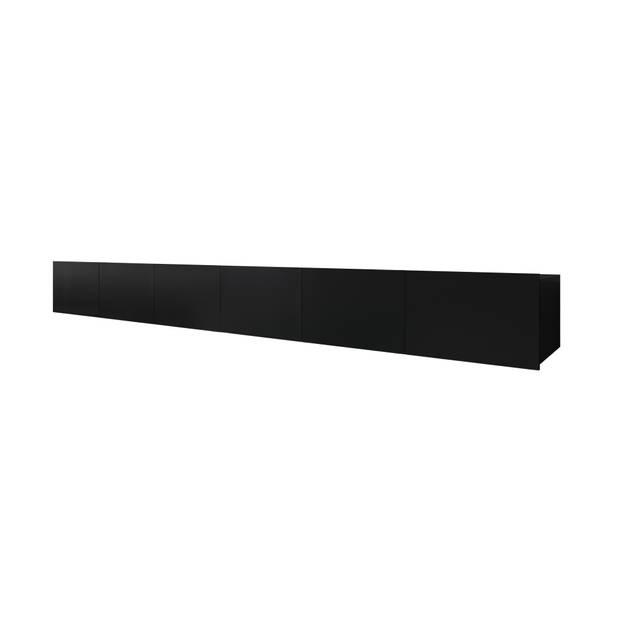 Meubella - TV-Meubel Calgary - Mat Zwart - 300 cm - Staand of Hangend