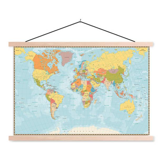 Schoolplaat Wereldkaart Gedetailleerd