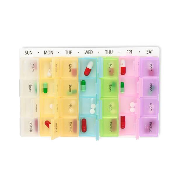 XL Pillendoos / Medicijn Box met 28 Vakjes voor 4 Dagdelen - Week