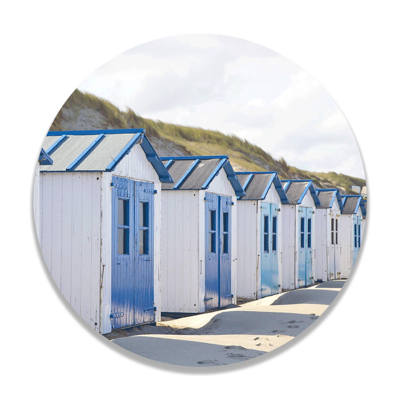 Wandcirkel Blauwe Strandhuisjes