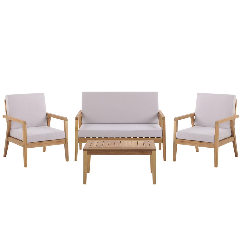 Beliani PALLANO Loungeset Acaciahout 65 x 120 cm