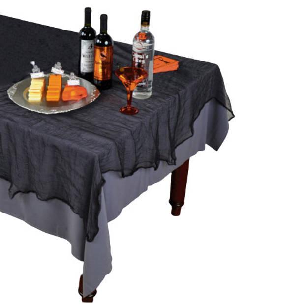 Amscan tafelkleed Cheesecloth 152,4 x 213,3 cm linnen zwart