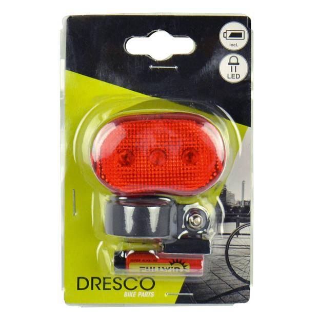 Dresco achterlicht 3 led batterijen rood/zwart