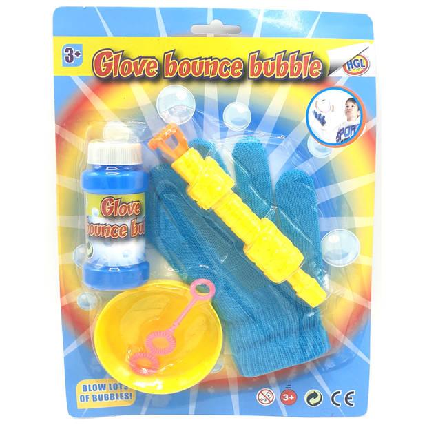 TOM bellenblaasset met handschoen junior blauw/geel 5-delig