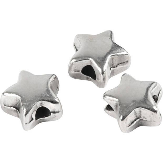 Creotime kralen sterren 5,5 x 5,5 mm verzilverd 3 stuks