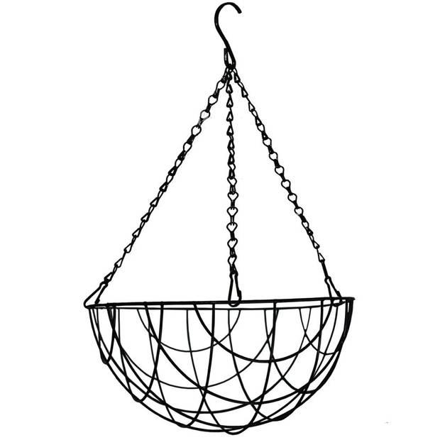 1x Zwarte bloempot hangmanden 40 cm - Hangmanden voor planten/bloem - Tuin/muur/balkon decoraties