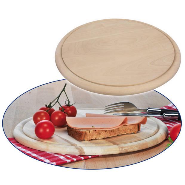 Ronde houten ham ontbijt planken / broodplank / serveer plank 25 cm - brood snijden / serveren - serveerplankjes