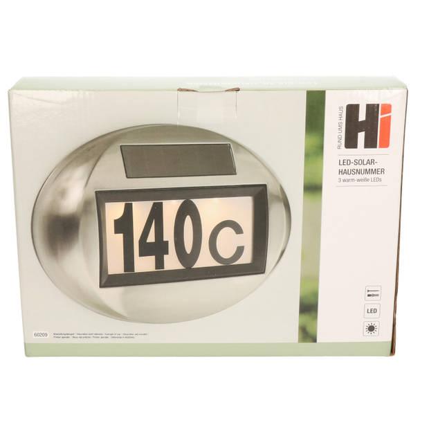 RVS solar huisnummer plaat ovaal met LED licht - Huisnummerplaten / huisnummerbordjes