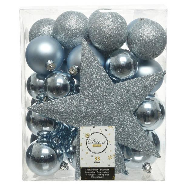 33x Lichtblauwe kunststof kerstballen 5-6-8 cm - Mix - Onbreekbare plastic kerstballen - Kerstboomversiering lichtblauw