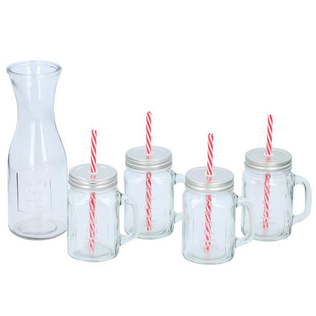 Glazen karaf 1 liter met 4x mason jar/smoothie bekers 420 ml - Karaf set 1 liter met glazen 420 ml