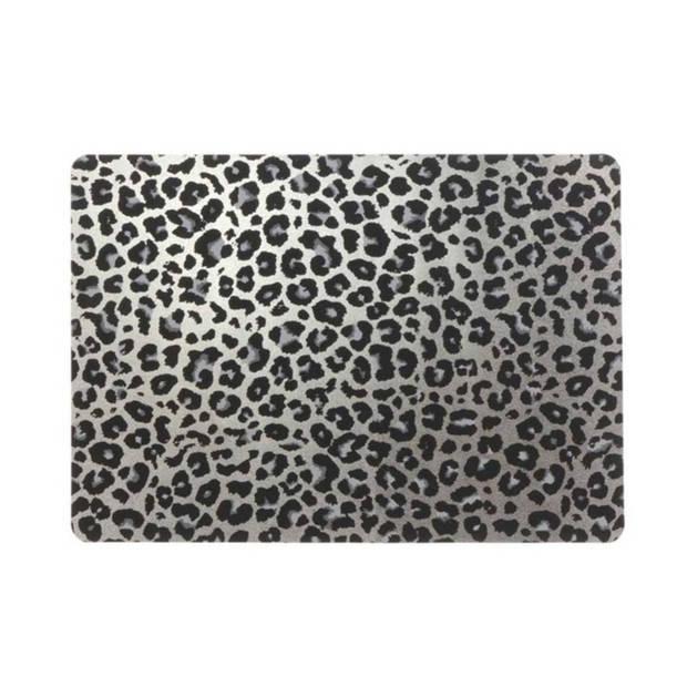6x Placemats/onderleggers zilveren panterprint 30 x 45 cm - Tafel dekken - Hippe tafeldecoratie