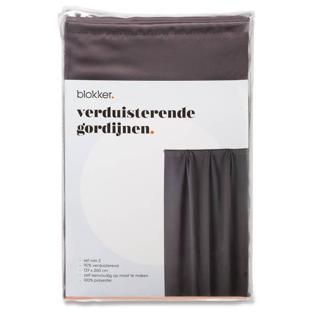 Blokker verduisterende gordijnen - antraciet - S/2 - 137x260 cm