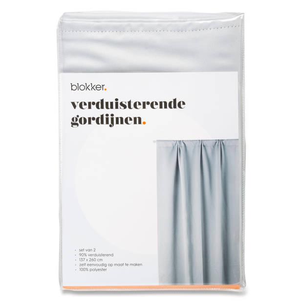Blokker verduisterende gordijnen - lichtgrijs - S/2 - 137x260 cm